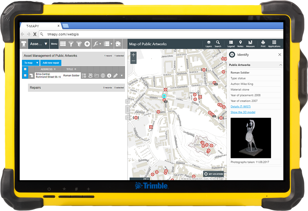 trimble compatibility, T-MAPY Web GIS and 360° 3D models are compatible with Trimble, T-MAPY spol. s r.o.